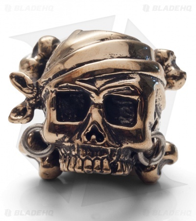 Lion ARMory Pirate Skull & Crossbones Bead Brass