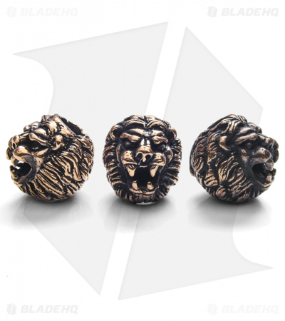 Lion ARMory Small Lion Head Beads Brass (Set of 3)