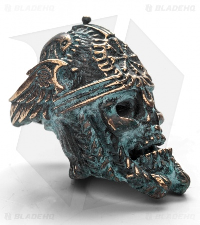 Lion ARMory Norseman Skull Bead Brass 1000 Year Old Patina
