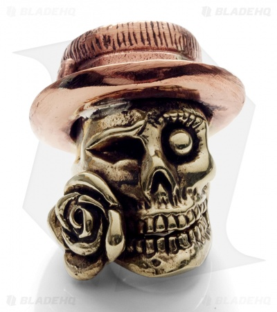 Lion ARMory Skull & Rose Bead Brass/Copper