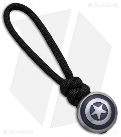 Metalworn Lanyard w/ Titanium Cpt. America Shield Bead (Blue Anodized)