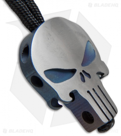 Metalworn Lanyard w/ Titanium Punisher Skull Bead - Satin/Blue