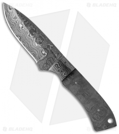 Grindworx Integral Drop Point Hunter Knife Damascus Blade Blank BL-DM2722