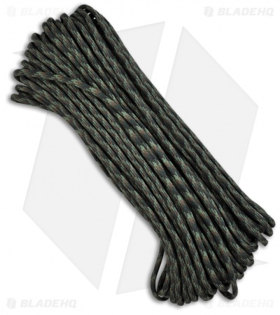 Woodland Camo 550 Paracord Nylon Braided 7-Strand Core (100') USA
