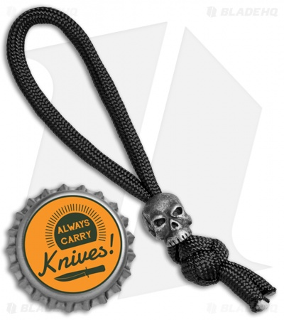 Schmuckatelli Classic Skull Bead Diamond Knot Zipper Pull (Black Oxide)