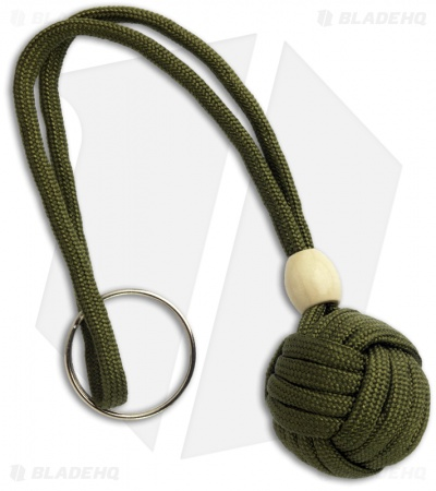 "Monkeyz Paw OD Green Paracord Lanyard (Small 3/4"" Ball)"