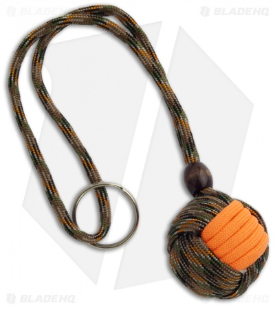 "Monkeyz Paw Woodland Hunter & Orange Paracord Lanyard (Large 1-1/4"" Ball)"