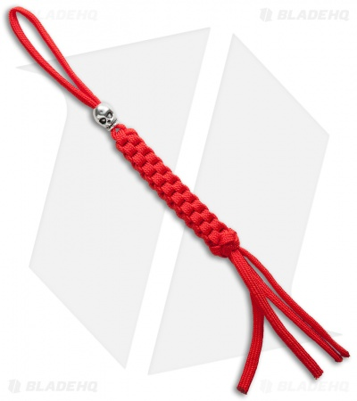 Paracord Square Tail Lanyard Red - Skull