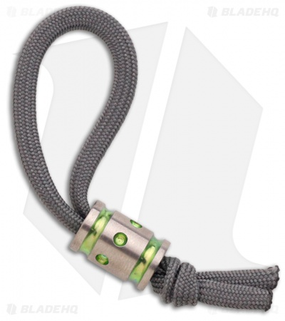 Gray Precision Titanium Helix Monster Bead Lanyard Pull (Satin/Toxic Green)