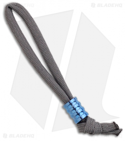 Gray Precision Standard Ti R3 Grooved Titanium Bead Lanyard Pull (Polished Blue)