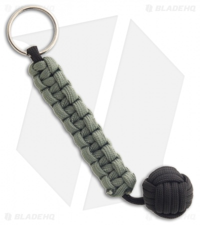 Knot Boys Monkey Fist Fob w/ Foliage & Black Paracord Tied Lanyard Keychain
