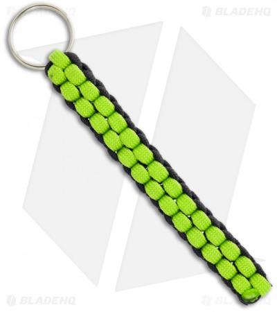 Lime Green & Black  550 Paracord Lanyard Keychain Boondoggle w/ Split Ring