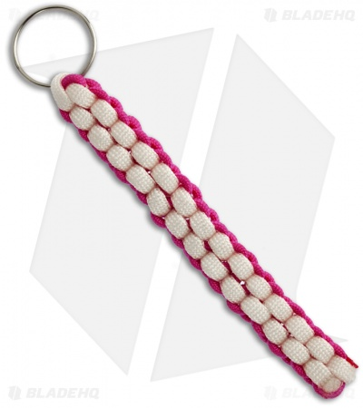 Hot Pink & White 550 Paracord Lanyard Keychain Boondoggle w/ Split Ring