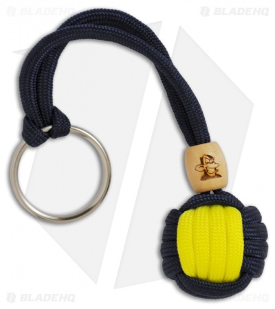 Monkey Knuts Navy Blue & Neon Yellow Sports Knut Lanyard w/ Wooden Barrel