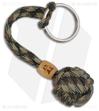 Monkey Knuts Multi Camo Knut Buster Paracord Lanyard Keychain w/ Wooden Barrel