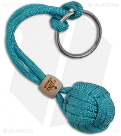 Monkey Knuts Neon Turquoise Knut Buster Lanyard Keychain w/ Wooden Barrel