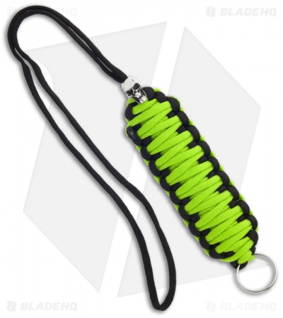 Green & Black Triple Tied 550 Paracord Neck Carry Lanyard Fob w/ Skull Bead