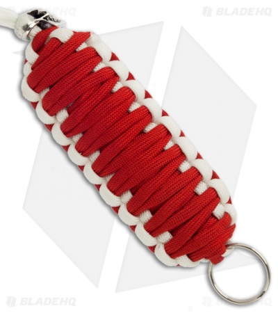 Red & White Triple Tied 550 Paracord Neck Carry Lanyard Fob w/ Skull Bead