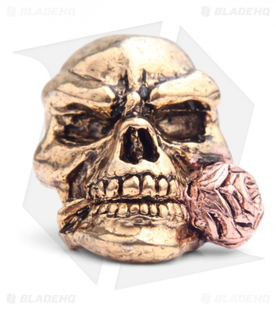 Schmuckatelli Rose Skull Lanyard Bead (Antique Gold/Rose Gold)