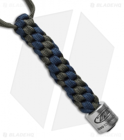 Zero Tolerance Knives Tied Paracord Lanyard + ZT Bead Gray/Blue