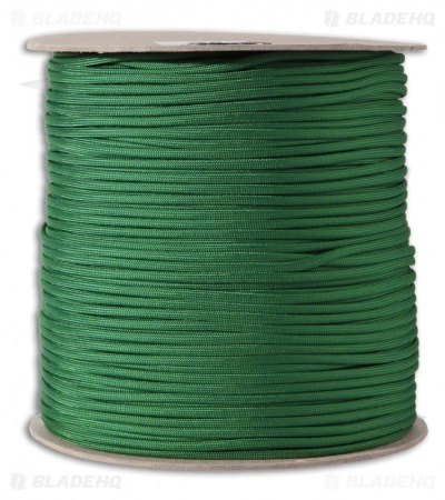 Spool of Green 550 Paracord Nylon Braided 7-Strand Core (1000') USA