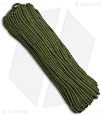 Camo Green 550 Paracord Nylon Braided 7-Strand Core (100') USA