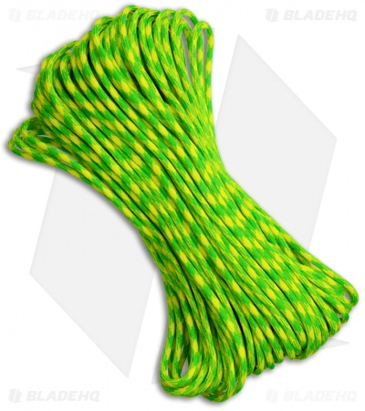 Lemon Lime Striped 550 Paracord Nylon Braided 7-Strand Core (100') USA