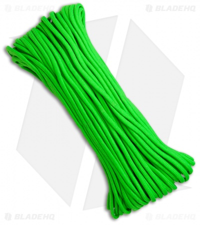 Lime Green 550 Paracord Nylon Braided 7-Strand Core (100') USA