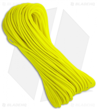 Neon Yellow 550 Paracord Nylon Braided 7-Strand Core (100') USA