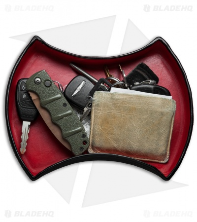 Bad Love Leather Double Axe Head Mini Valet Tray - Red/Black Leather