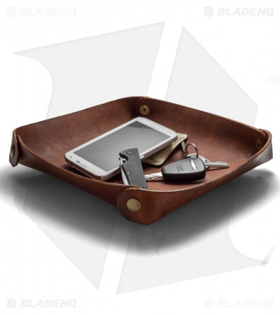 Fire Hall Knife & Leather Valet Tray w/ Light Woodgrain