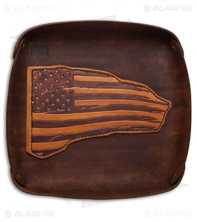 Fire Hall Knife & Leather Valet Tray w/ American Flag Overlay