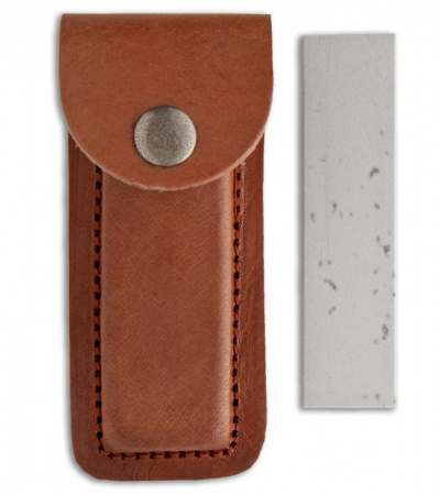 Dan's Soft Arkansas Pocket Whetstone w/ Sheath & Honing Oil (Small) AC41