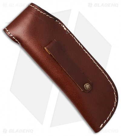 "Venture 7.5"" V114C Leather Fixed Blade Belt Sheath Brown w/Purple Overlay"