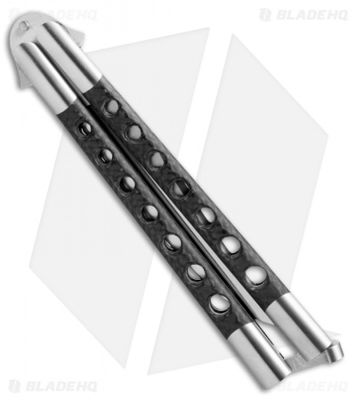 "29 Knives Chris Olofson 5"" Long Clip Bowie Balisong Knife Skeleton Carbon Fiber"