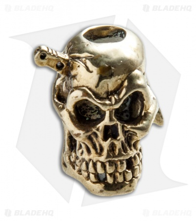 Andre de Villiers AdV Large Knife Head Skull Bead - Brass