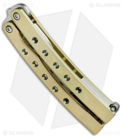 "Balibalistic Custom Balisong Butterfly Knife Gold Titanium (3.75"" Satin)"
