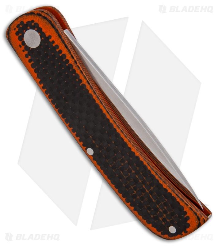 Baskett Custom Knives Slip Joint Traditional Knife Orangeblack Cf
