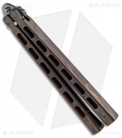 "Snody Knives Custom Highroller Balisong Butterfly Knife Battle Bronze (5"" Satin)"