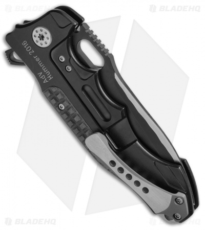 "Andre de Villiers Custom Hummer Flipper Knife Black Frag CF (4.25"" Two-Tone) AdV"