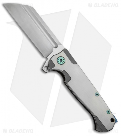 "Andre de Villiers Classic Butcher Flipper Knife Satin/Green Ti (4"" Satin) AdV"