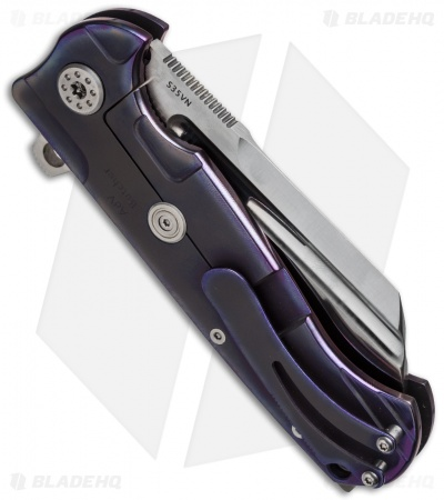 "Andre de Villiers Mid-Tech Butcher V1 Frame Lock Knife Purple (3.75"" Satin) AdV"