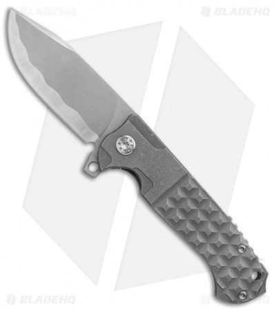 Andre De Villiers Custom Clip Point Knife Knurled Ti (Bead Blasted Hamon) AdV