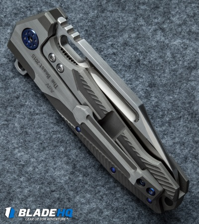 "Andre de Villiers Mid-Tech Beast Flipper Knife w/ Blue Hardware (3.75"" Satin)"