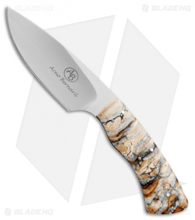 "Arno Bernard Knives Gecko Fixed Blade Knife w/ Mammoth Molar (2.75"" Satin) 5313"