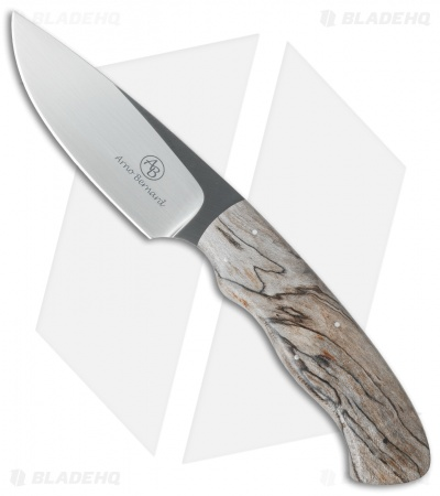 "Arno Bernard Knives Zebra Fixed Blade Knife Spalted Maple (4"" Satin)"