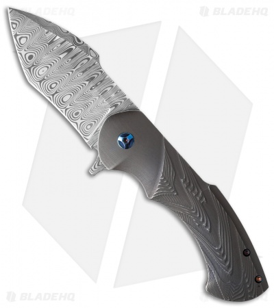 "Rick Barrett Fallout Mid-Tech Flipper Knife Gray Titanium (3.5"" Damascus)"