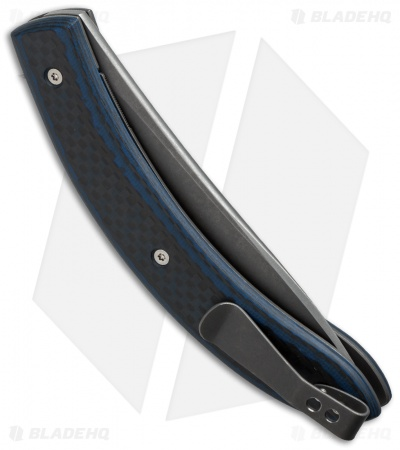 "Brad Zinker Circle Liner Lock Flipper Knife Blue G-10/Carbon Fiber (3.75"" Matte)"
