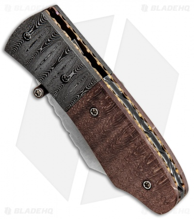 "Burr Oak Knives Mini Combat Utility Knife Stabilized Oak (3.375"" San Mai)"