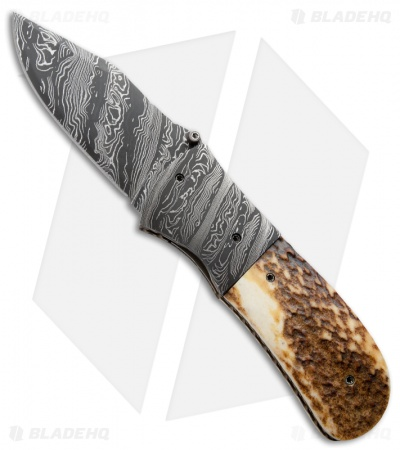 "Burr Oak Knives First Responder Knife Red Stag (3.5"" Damascus)"